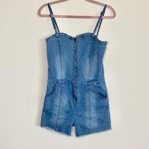 Fashion Nova denim straps zipper overall romper: L